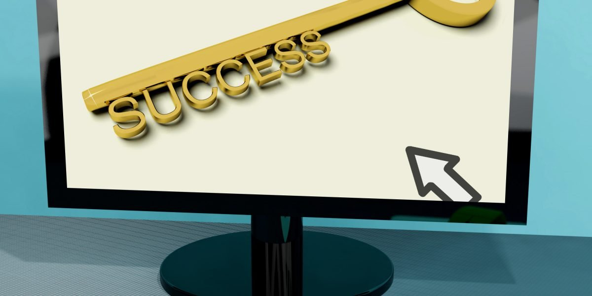 Success Key On Computer Shows Business Achievement Online